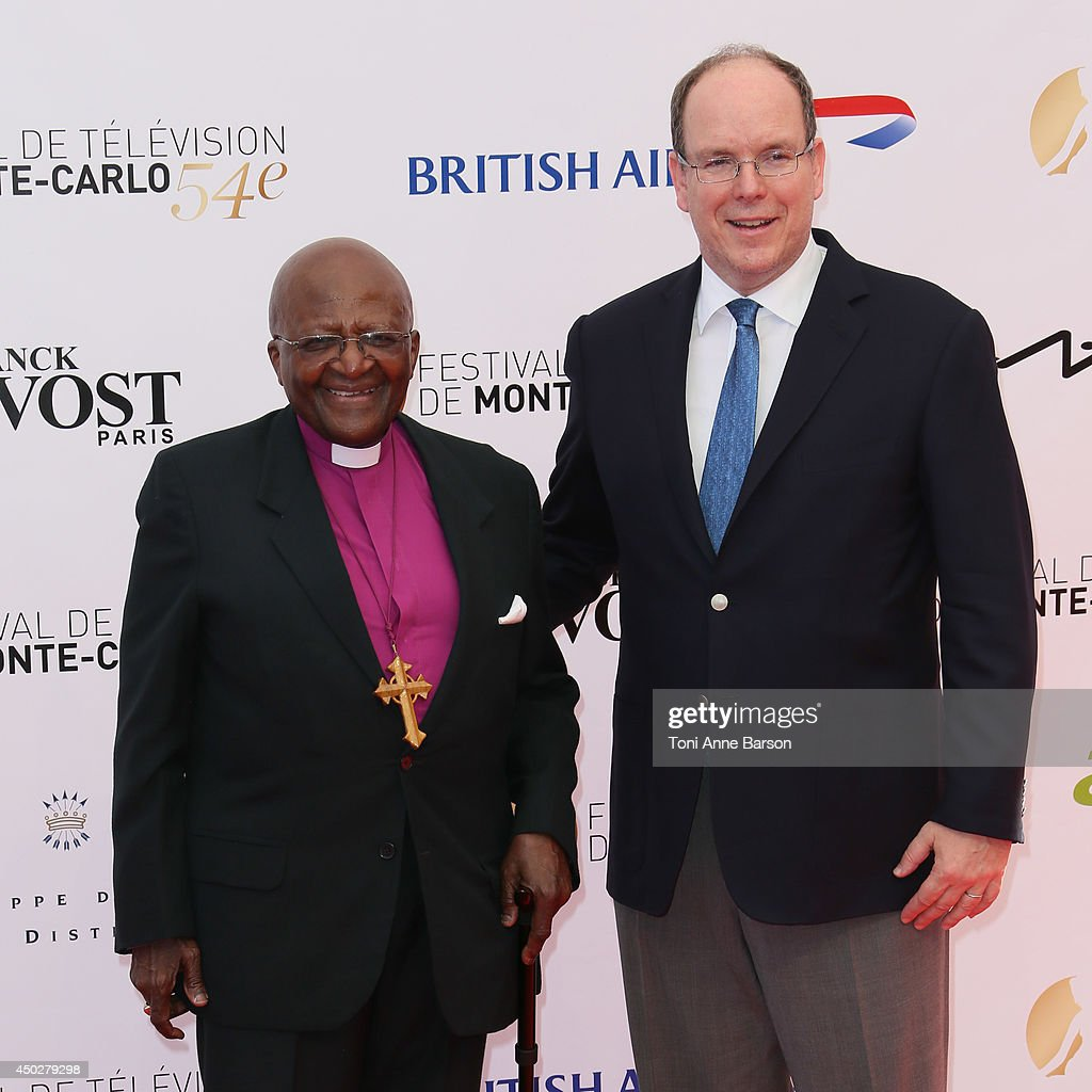 Desmond Tutu and HSH Prince Albert II of Monaco attends the 'Children of the Light' World Premiere at the Grimaldi Forum on June 8, 2014 in Monte-Carlo, Monaco.