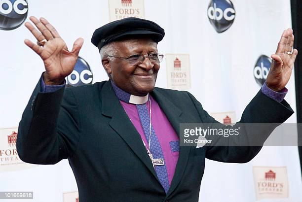 Desmond Tutu poses on the red carpet during the Ford's Theatre Society Annual Gala at Ford's Theatre on June 6 2010 in Washington DC