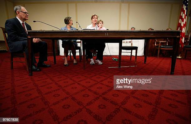 Desni Crock of Marietta Ohio and her threeyearold daughter Bridget attend a forum to tell their stories about denied coverage by insurance companies...