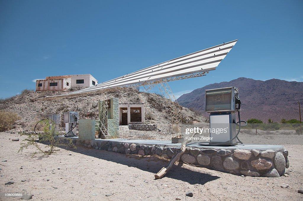 desolate gas station : Stock Photo