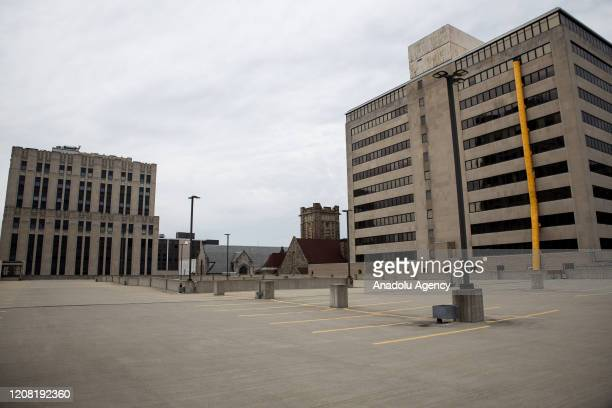A desolate parking garage is seen in Dayton Ohio on March 24 2020 amidst the Coronavirus Pandemic On March 23 2020 the state declared a stay at home...