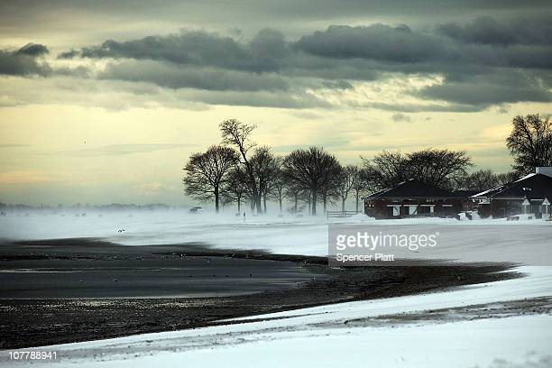 A desolate windswept beach is viewed following a snow storm on December 27 2010 in Westport Connecticut Much of the northeast of the United States is...