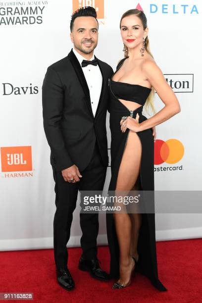 Despacito Singer Luis Fonsi and wife Agueda Lopez arrive for the traditionnal Clive Davis party on the eve of the 60th Annual Grammy Awards on...