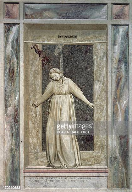 Despair female figure hanging herself and devil who grabs her by the hair by Giotto detail from the cycle of frescoes The Vices and Virtues 13031305...