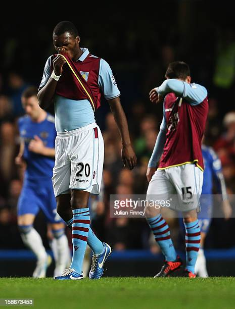 Despair for Ashley Westwood and Christian Benteke of Aston Villa as Chelsea score during the Barclays Premier League match between Chelsea and Aston...