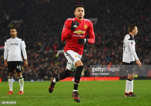 Despair for Derby County players as Jesse Lingard of Manchester United celebrates as he scores their first goal during the Emirates FA Cup Third...
