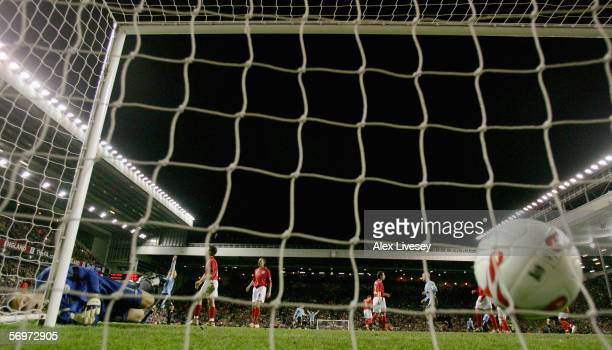 Despair for Paul Robinson of England as Omar Pouso scores for Uruguay during the International friendly match between England and Uruguay at Anfield...