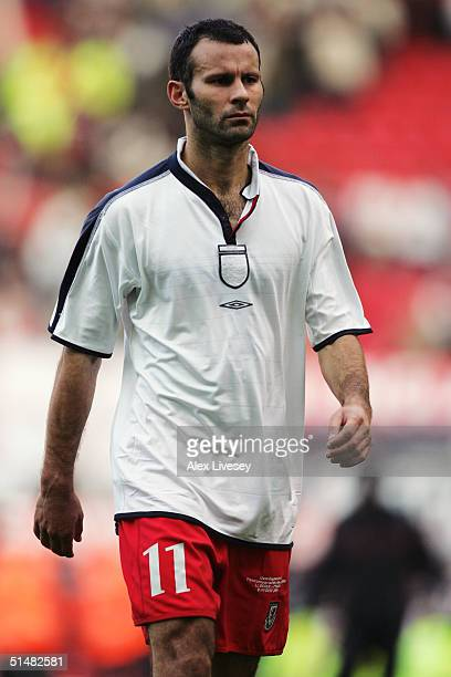 Despair for Ryan Giggs of Wales following the 2006 World Cup Qualifying match between England and Wales at Old Trafford on October 9 2004 in...