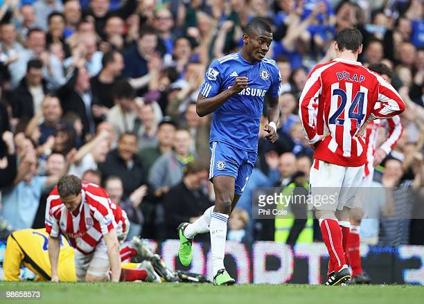 Despair for Stoke City as Salomon Kalou of Chelsea celebrates scoring his third and his team's fourth goal during the Barclays Premier League match...