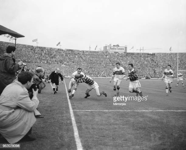 Desperate defence by Huddersfield prevents Wakefield Trinity from scoring a third try in the Rugby League Cup Final at Wembley 12th May 1962