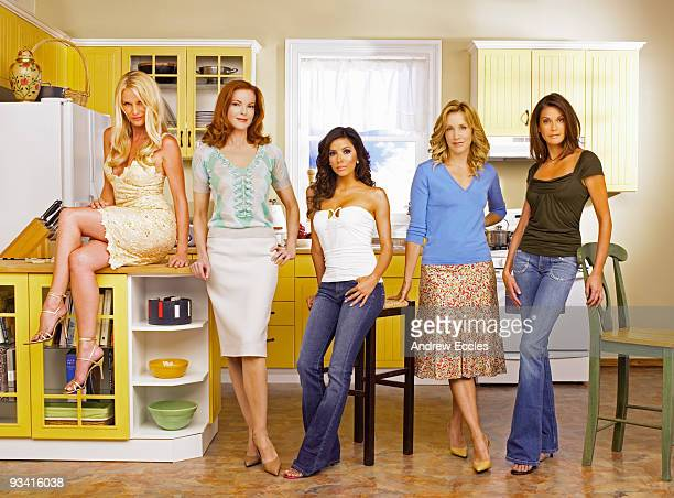 HOUSEWIVES Desperate Housewives stars Nicollette Sheridan as Edie Britt Marcia Cross as Bree Van De Kamp Eva Longoria as Gabrielle Solis Felicity...
