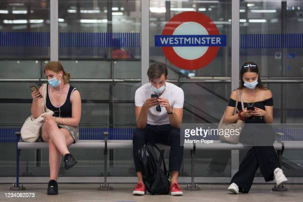 Despite changes to Covid regulations passengers at Westminster use the tube much the same as they have over the last 16 months instead today,...