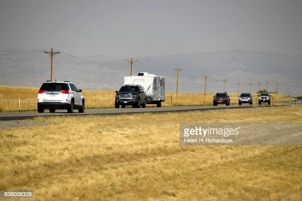 Despite dire predictions of gridlocked traffic most highways near Lander Riverton and Shoshoni flow easily the day before the eclipse on August 20...