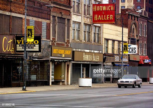 Despite efforts to beautify Broadway Street in the old downtown section of Gary Indiana the former murder capital of the US still resembles a ghost...