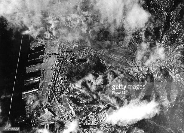 Despite heavy cloud cover B17 Flying Fortresses of the 12th US Air Force blasted the railway yards at Genoa October 29 1943