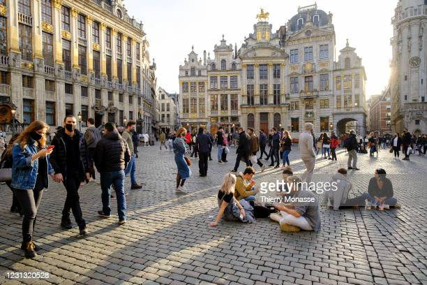 Despite the corona crisis, people enjoy a warm Saturday afternoon on February 20, 2021 in Brussels, Belgium. On February 2 the federal government and...