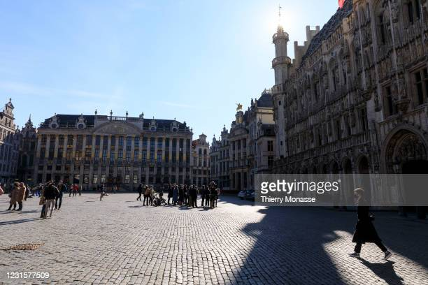 Despite the coronavirus crisis, people enjoy a warm Saturday afternoon on March 6, 2021 in Brussels, Belgium. On March 5 the Federal Government and...