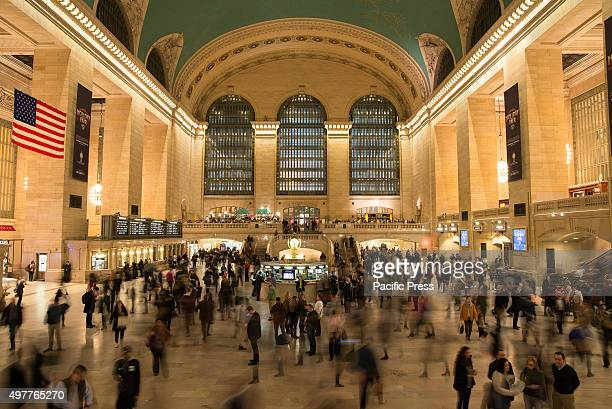 Despite the enhanced security measures outside Grand Central Terminals the rushhour commuter traffic goes on with little pause inside Grand Central...