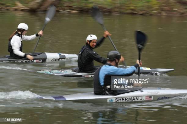 Despite the postponement of the Tokyo 2020 Olympics due to the coronavirus Team USA Kayak athlete Tyler Uthus Westfall trains in the Potomac River on...