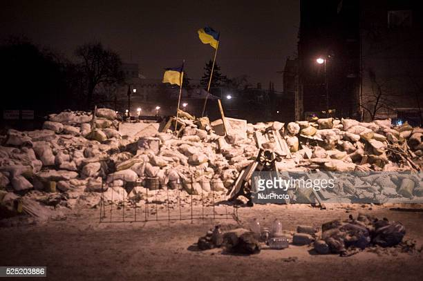 Despite the resignation of prime minister Mikola Az����rov ukranian protester spend the night at barricades In the picture the barricades in...