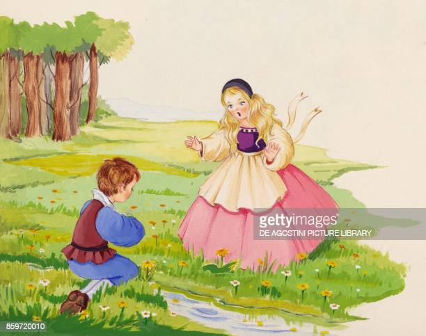 Despite the warning of Little Sister Little Brother drinks the water of the stream illustration for Brother and Sister fairy tale by the Grimm...