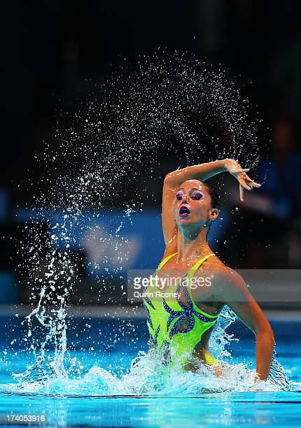 Despoina Solomou of Greece competes in the Synchronized Swimming Solo Technical preliminary round on day one of the 15th FINA World Championships at...