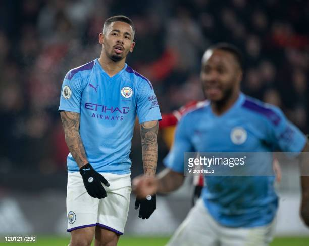 A despondent Gabriel Jesus of Manchester City after missing a penalty during the Premier League match between Sheffield United and Manchester City at...