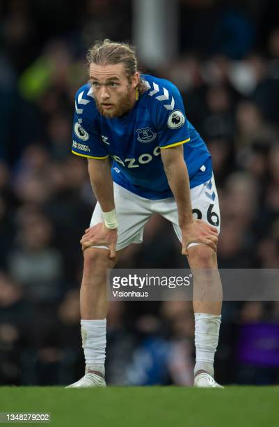 Despondent Tom Davies of Everton during the Premier League match between Everton and Watford at Goodison Park on October 23, 2021 in Liverpool,...
