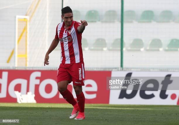 Desportivo Aves forward Cristian Arango celebrates after scoring a goal during the Portuguese Primeira Liga match between Portimonense SC and...