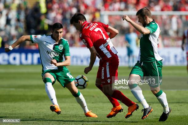 Desportivo Aves's forward Alexandre Guedes vies vies for the ball with Sporting's midfielder Rodrigo Battaglia and Sporting's defender Stefan...