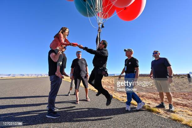 """Dessa Blaine and David Blaine before the stunt """"Ascension"""" on September 02, 2020 in Page, Arizona."""