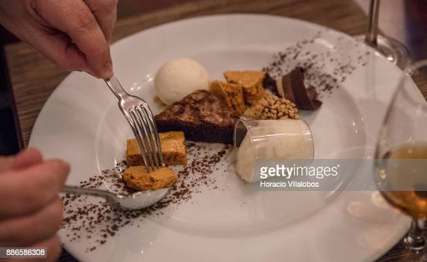 Dessert during dinner in Dolce CampoReal Lisboa Hotel for participants of Gastronomic FAM Tour on November 26 2017 in Torres Vedras Portugal...