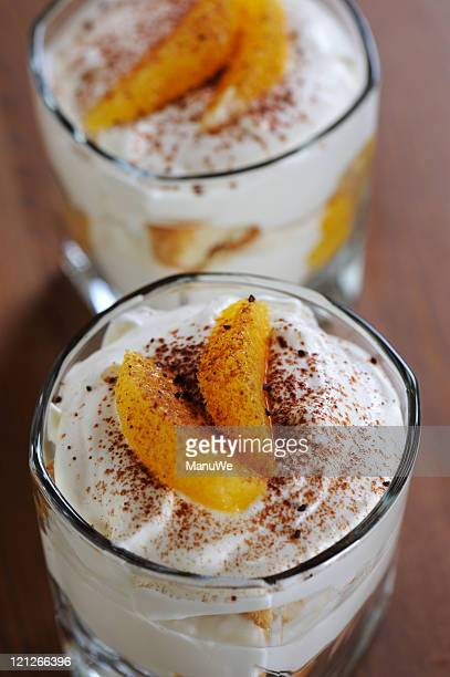 Dessert Orange Tiramisu in Glass Topview