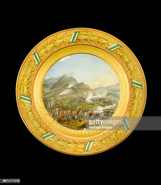 Dessert plate depicting the Battle of Bussaco Portugal 1810 Item in Apsley House London from the Wellington Museum Part of a dinner service which was...