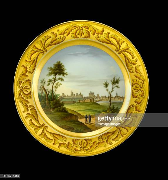 Dessert plate depicting the Battlefield of Badajoz Spain 1810s Item in Apsley House London from the Wellington Museum Part of a dinner service which...