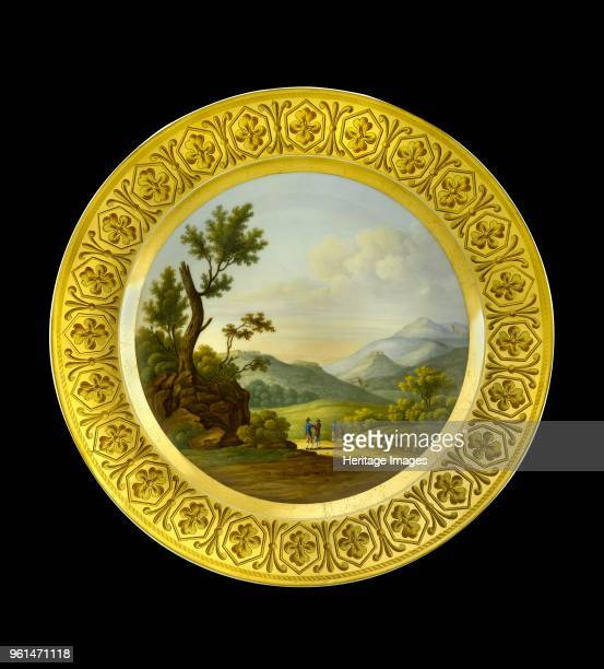 Dessert plate depicting the Battlefield of Bussaco Portugal 1810s Item in Apsley House London from the Wellington Museum Part of a dinner service...