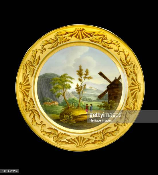 Dessert plate depicting the battlefield of Roleia Portugal 1810s Item in Apsley House London from the Wellington Museum Part of a dinner service...