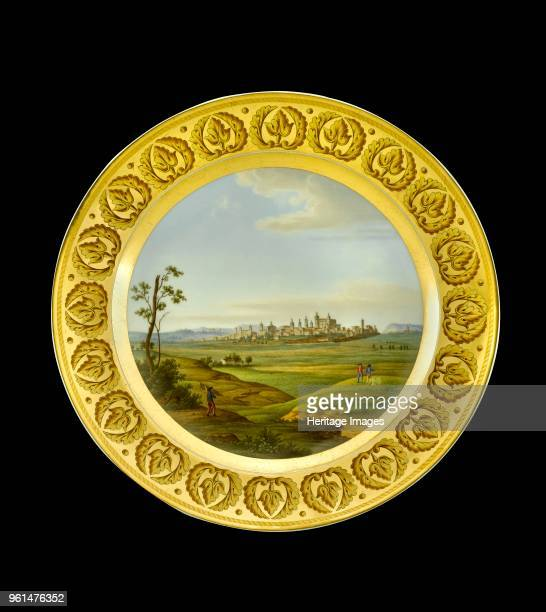 Dessert plate depicting the battlefield of Salamanca Spain 1810s Item in Apsley House London from the Wellington Museum Part of a dinner service...