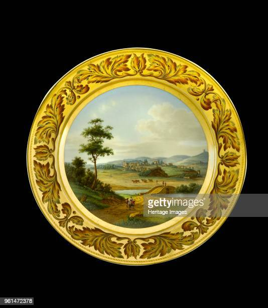 Dessert plate depicting the battlefield of Vimeiro Portugal 1810s Item in Apsley House London from the Wellington Museum Part of a dinner service...