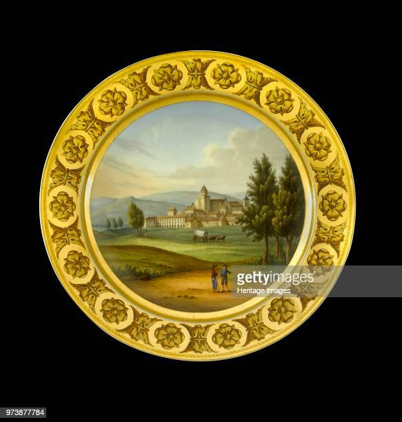 Dessert plate depicting the battlefield of Vitoria Spain 1810s Item in Apsley House London from the Wellington Museum Part of a dinner service which...