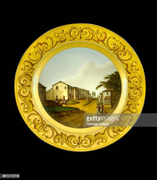 Dessert plate depicting the British headquarters at Vimeiro Portugal 1808 Item in Apsley House London from the Wellington Museum Part of a dinner...