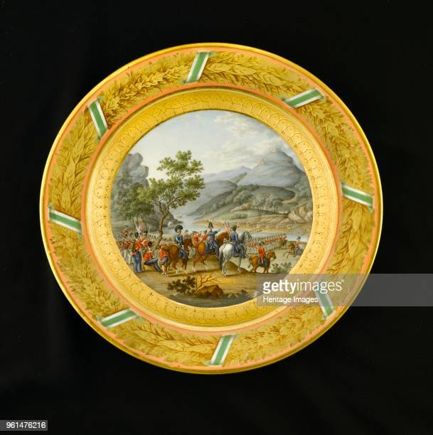 Dessert plate depicting the crossing of the Mondego Portugal 1810 Item in Apsley House London from the Wellington Museum Part of a dinner service...