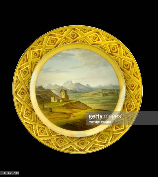 Dessert plate depicting the Lines of Torres Vedras Portugal 1810s This series of forts was built in secret in 18091810 to defend Lisbon Item in...