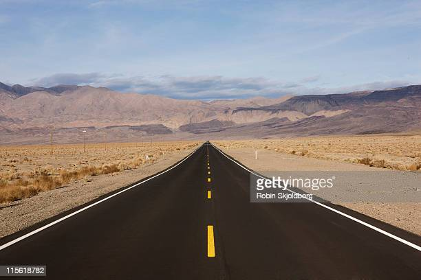 Dessert road with yellow stripes