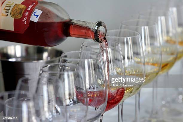 Dessert wines are poured ahead of a tasting session as more than 250 wines from some 60 Israeli wineries compete for coveted awards to be announced...
