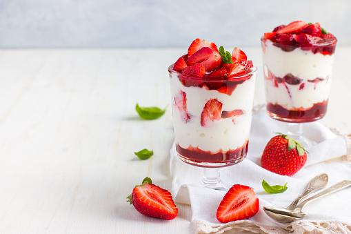 dessert with fresh strawberry,  cream cheese and strawberry  jam 508832706