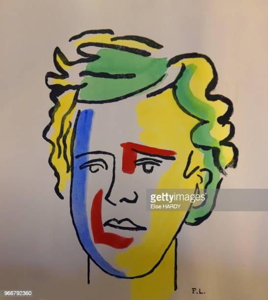 Dessin de l'artiste FL représentant le poète Arthur Rimbaud dans le Musée Rimbaud 22 septembre 2015 CharlevilleMézières Ardennes France