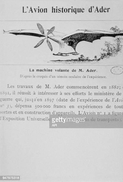 Dessin de l'avion n°1 de Clément Ader, ingénieur et pionner de l'aviation français vers 1890 en France.
