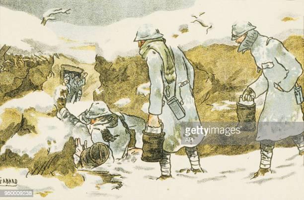 Dessin de l'illustrateur français Ernest Gabard soldats français sur le front lors de la Première Guerre Mondiale France