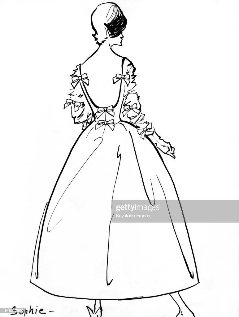 Dessin D Un Modele De Lanvin Castillo Une Robe De Soiree En